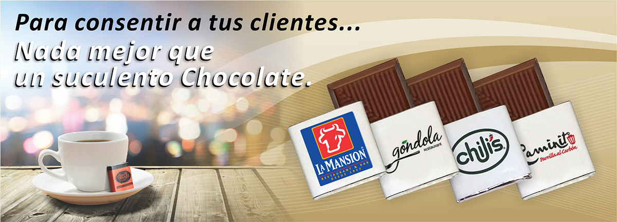 Chocolates promocionales.